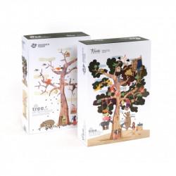 Dikke puzzelstukken in een stevige kartonnen doos